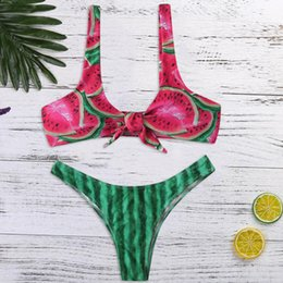 c16799a00de smallest bikini swimwear Promo Codes - HOT Women's Swimwear Fresh Print Bikini  Small Watermelon Split Swimsuit