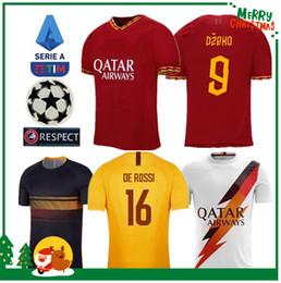 Roma maillot de football en Ligne-19 20 ROME domicile à domicile football TOTTI ROMA DZEKO Sports DE ROSSI maillot 2019 2020 EL SHAARAWY kit homme adulte garçon kit