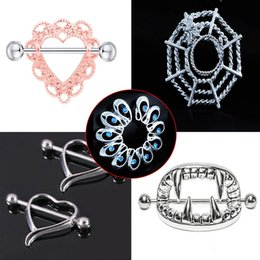 защитные кольца для ниппелей Скидка 1pcs Sexy Surgical Steel Heart/Flower Body Nipple Bar Barbell Piercing Shield Rings Rushed Ear Plugs Fake Piercing Body Jewelry