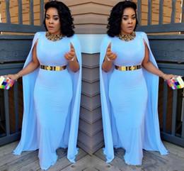 Planchers légers en Ligne-2019 Nouveau Bleu Clair Plus La Taille Cap Style Robes De Soirée Gaine Longueur De Plancher Robes De Soirée Aso Ebi Femmes Sud-Africaines Robes de soirée
