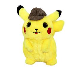 Detetive Pikachu Pelúcia Crianças Brinquedo de Pelúcia Macia kawaii Toy Bonecas Dos Desenhos Animados Brinquedos de Natal para As Crianças de Fornecedores de brinquedos pocoyo a atacado