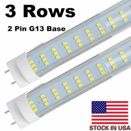 Luces de tubo plano led online-Tubos de luz LED de 25 piezas 4 pies 60 W, chips de LED de 288 piezas de 3 hileras planas, bombillas de repuesto LED para lámparas fluorescentes de 4 pies, luz de almacén