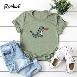 corti di dinosauro verde Sconti Dinosaur Print Tee Green Summer Women Maglietta semplice basic a maniche corte T-shirt stile casual da donna