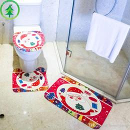 Canada Décoration de toilette de Noël Trois pièces Décoration de Noël Ensemble de décoration Tapis de sol Siège de toilette Tapis de sécurité pour salle de bain Offre