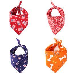 Bufandas para perros online-Gato Perro Bandera americana Pañuelos con pañuelo Bufanda Cuello Pañuelo de mascota Pañuelo de pañuelo para mascota Pañuelo de saliva para perros pequeños y medianos