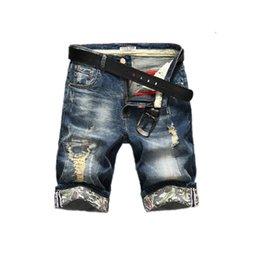 новые модные мужские джинсы Скидка Новая мода мужские рваные короткие джинсы марка одежды бермуды лето 98% хлопок шорты дышащие джинсовые шорты мужской