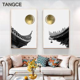 Wholesale Giapponese Golden Sun Temple tela Nordic Nero Immagine Bianco parete per Soggiorno astratta Cuadro Decorativo Pagina Principale Pitture