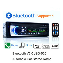 Receptores estéreo on-line-Autoradio Bluetooth Estéreo Do Carro Rádio FM Receptor de Entrada Aux SD USB JSD-520 12 V Em-traço 1 din Car MP3 Multimedia Player