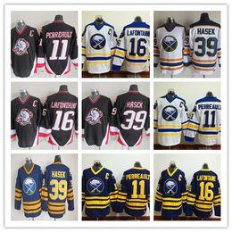 1992 Vintage Buffalo Sabres Hockey sobre hielo 16 Pat LaFontaine 11 Gilbert  Perreault 39 Dominic Hasek Retro cosido Jerseys Negro Blanco Azul d40060ed2