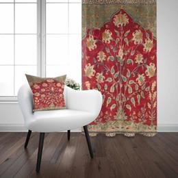 Autre Brun Rouge Vert Vintage Fleur Turque Authentique 3D Imprimer Salon  Chambre Fenêtre Panneau Rideau Combiner Cadeau Taie d oreiller