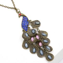 Pfau anhänger online-Halsketten Anhänger Für Frauen Schmuck Günstige Antiqued Tänzelnde Pfau Multi Pailletten Lange Halsketten