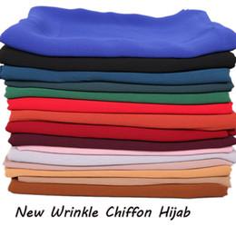 Scialli chiffoni pianura online-Di alta qualità nuova piega chiffon hijab sciarpa hijab musulmano scialle pianura delle donne autunno testa sciarpe fascia piega hijab 20 pz
