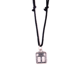 table charm wholesale Coupons - YY16 European and American popular ancient silver square wallet and table tennis bat pendant rope necklace