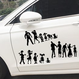 family window decals Promo Codes - 5 Designs Personalised ZOMBIE Family Funny Car Window JDM Vinyl Decal Motorcycle Sticker Black Silver KL-068