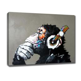 2019 arte da parede da lona de audrey hepburn Pintados À mão pintura A Óleo Da Lona Abstrata Animais Famosos Pensamento Inteligente Chimpanzé Wall Art Sala de estar Quarto Decoração Da Parede