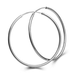 delicate ear earrings Promo Codes - 1Pair Big Smooth big ears ring Clear Circle Round Hoop Charm Earrings Delicate