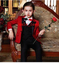 2019 Günstige Jungen Smoking Schöne Mädchen Dinner Suits Jungen Formelle Anzüge Smoking für Kinder Smoking (Jacke + Pants + Tie + Vest) A03 von Fabrikanten