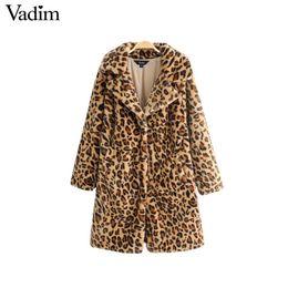 Patrones largos chaquetas con estilo online-Vadim leopardo de piel sintética chaqueta larga cálida capa gruesa patrón animal bolsillos manga larga abrigos mujer elegante tops sueltos CA275