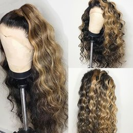 destacados del cabello brasileño Rebajas Ombre Honey Blonde Highlight Brown Losse Wave 360 Peluca de cabello humano con frente de encaje con cabello de bebé Remy Peluca de encaje completo brasileño 13x4 13x6 Peluca de encaje