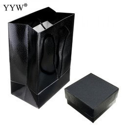 Ювелирный картон онлайн-Jewelry Set Box Necklace Earrings Ring Earrings Gift Boxes Black Elegant Cover Jewelry Display Case Cardboard Packaging