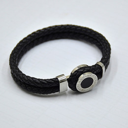 antique bracelets Promo Codes - high quality MB Leather Bracelets Woven Antique mens black Charm Bracelets Toggle-clasps Man bangles luxury Jewelry for festival gift