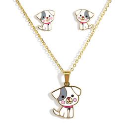 brincos estilo vintage boêmio verde Desconto Bonito filhote de cachorro colar de pingente de brincos conjunto adequado para senhoras e crianças titanium aço colar de jóias dos desenhos animados