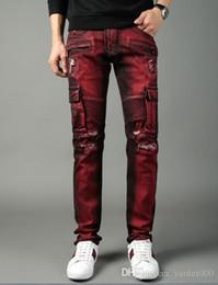 2019 bolsos europeia jeans calças de comércio exterior da motocicleta vermelho grandes bolsos macacão Europa e América de rua estilo punk calças jeans Finas bolsos europeia jeans barato