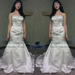 2019 vestido de noiva de cetim Modest bordado marfim cetim sereia vestidos de noiva 2019 querido principais cristais perolização trompete igreja país vestidos de noiva do casamento vestido de noiva de cetim barato