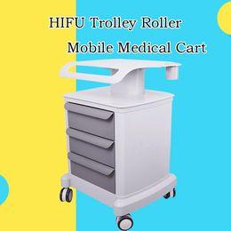 Zeichnen rollen online-Neuer Laufkatzen-Rollen-beweglicher medizinischer Wagen mit Ziehungen zusammengebautem Standplatz-Halter für Salon-Badekurort HIFU-Maschine