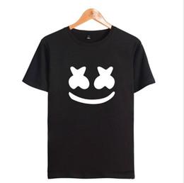 Logo envolvente online-Envío gratuito del nuevo logo popular de algodón con estampado de cara marshmello, camisetas impresas para hombres y mujeres