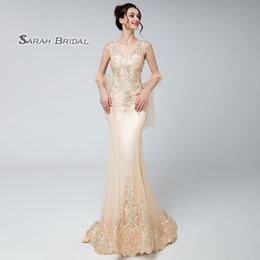 5f7fd19339 Champage cristal encaje sirena con cuentas vestido de fiesta de baile 2019  Sexy elegante abalorios Vestidos De Festa vestido de noche formal ocasión  vestido ...