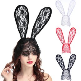 Fascia di velo nera online-Natale Merletto coniglietto nero Rabbit Ears Maschera Sexy Veil fascia Nightclub Masquerade Mask Halloween Costume Party Maschera MMA2564