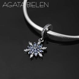 Nuovo 925 sterling silver bella forma di fiocco di neve blu CZ multa Ciondolo perline Fit originale Pandora braccialetto di fascino creazione di gioielli da fiocco di neve di faggio blu fornitori