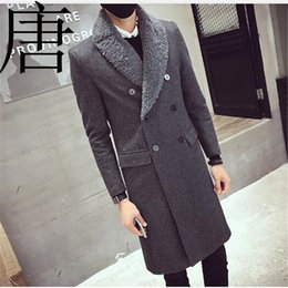 mens pêlo curto breasted Desconto 2019 Nova marca Vintage Trench Coats Mens Fur Collar casacos longos Duplo Jacket Breasted Overcoat Mens Slim Fit lã inverno
