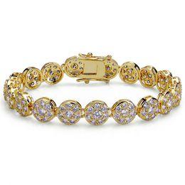 Pulsera de eslabones de cadena de diamantes online-Muy bien Joyería de diseñador de Hip Hop Hombres Pulseras de oro Brazaletes de lujo Iced Out Diamond Tennis Bracelet Lover Rock Link Chain