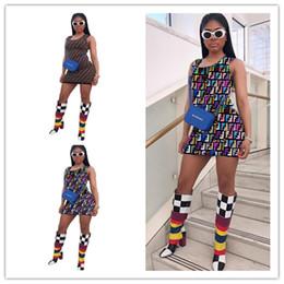 Mujeres F Letras Sin mangas Vestido Por encima de la rodilla Vestidos flacos Chaleco de la manera Falda Multicolor Vestido de una pieza Clubwear 2019 C431 desde fabricantes