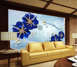 2020 peintures murales de fleurs bleues Photo faite sur commande Fond d'écran mural Wall Sticker Blue Dream Rose Flower TV Wall Background Papel de Parede Fond d'écran 3D promotion peintures murales de fleurs bleues