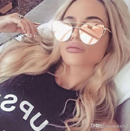 5acb2335a7 2018 Cat Eye vintage Brand designer rose gold mirror Sunglasses For Women  Metal Reflective flat lens Sun Glasses Female oculos free shoping