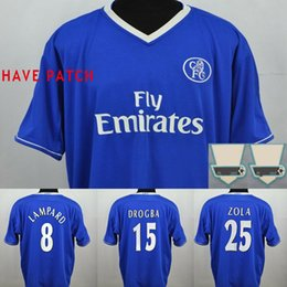 Pés de veludo on-line-Nome de veludo Chelsea Lampard 03 04 05 Camisa de futebol clássico de Drogba Hasselbaink 2003 2004 2005 Camisa de futebol clássico de Crespo retro Terry Maillot de pé