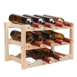 2019 visualizza la birra 12Bottle Portabottiglie per vino rosso Portabottiglie fai da te Cucina Bar Espositore in legno massello Scaffale per vino Portabottiglie per hotel LU720348 sconti visualizza la birra