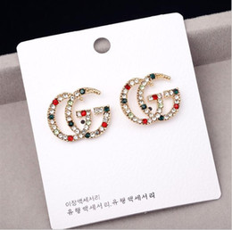 rhinestone letter earrings Coupons - Luxury Designer Earrings with Red White Green Stone Women Jewelry Stud Letter Earrings with Crystal for Party