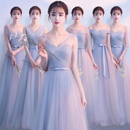 vestido de estilo plisado gris Rebajas 6 Mujeres del estilo vestido de dama de honor plisado rosa gris cuello redondo 1/2 manga A-Line Princess Ladies Homecoming graduación vestido de noche más el tamaño