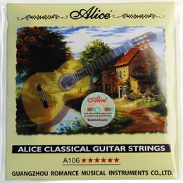 guitarra clássica de nylon Desconto 10 SET NEW Alice cordas de guitarra clássica A106 H cordas de Nylon Claro 1-6 cordas acessório de guitarra