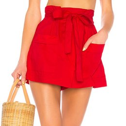 2019 corbata roja para las mujeres Melegant Bow Belt Tie Pockets Solid Red Women Shorts cintura alta mujer Casual Shorts fiesta del verano del verano 2019 más el tamaño corbata roja para las mujeres baratos