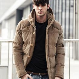 2019 capucha chaqueta de pana Capucha de pana acolchada de invierno acolchado hombres chaqueta de la manera caliente chaquetas masculinas Parka con capucha abrigo ocasional más nuevo capucha chaqueta de pana baratos