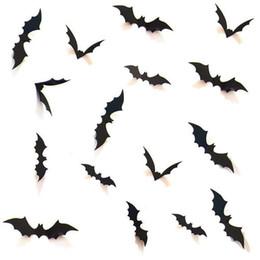 quarto de parede para crianças Desconto Atacado 10 Conjuntos DIY Fontes Do Partido Do Dia Das Bruxas 3D Decorativo Assustador Morcegos Decalque em Parede Adesivo de Parede, véspera de Halloween Decoração Da Parede Da Janela, preto