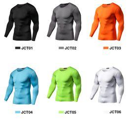 Chegada nova Quick Dry Camisa De Compressão Mangas Compridas Treinamento camiseta de Fitness Roupas de Verão Cor Sólida Musculação Ginásio Crossfit de