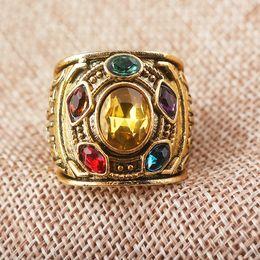 2019 kristall infinity ringe Marvel Avengers Thanos Ringe Charme Männer Unendlichkeit Gauntlet Bague Homme Anillos Mujer Frauen Kristall Schmuck günstig kristall infinity ringe