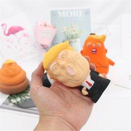 2019 brincadeira de caneta chocante Presentes Donald Trump Estresse Squeeze Bola Jumbo mole Toy novidade de alívio de pressão da boneca PU Squeeze Fun Joke Suporte para Crianças Brinquedos D11402