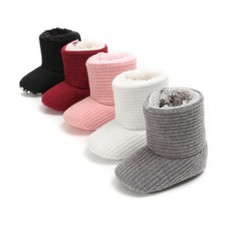 fur baby booties Coupons - 0-18M Newborn Baby Kids Boys Girls Shoes Winter Boots Warm Fleece Snow Boots Infant Booties Soft Sole Plush Fur Knitting Shoes